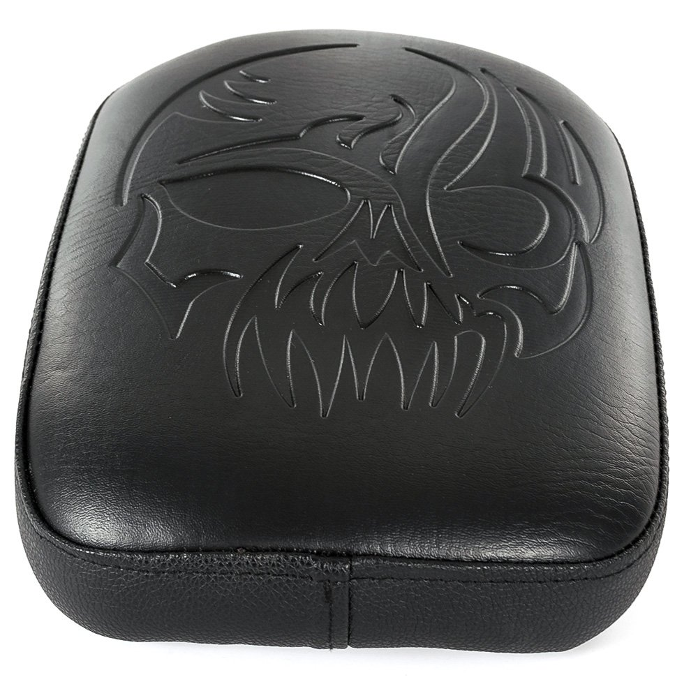 Motorcycle 8 Suction Cup Black Leather Rectangular Pillion Passenger Pad Seat For Harley Custom Chopper Cruiser