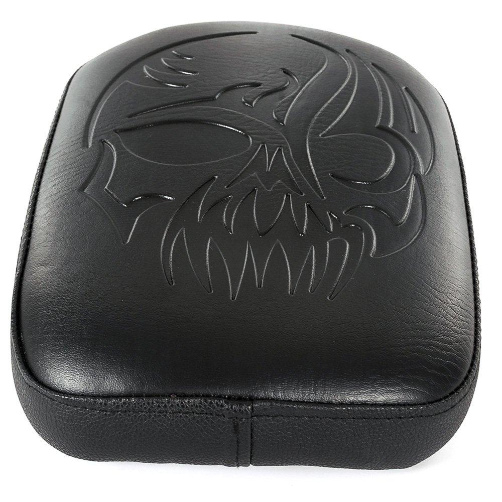 Motorcycle 8 Suction Cup Black Leather Rectangular Pillion Passenger Pad Seat For Harley Custom Chopper Cruiser