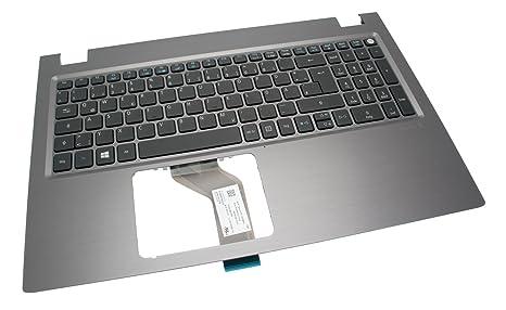 Acer – Teclado Iluminado Alemán (de) + Top Case Gris Aspire V3 – 575
