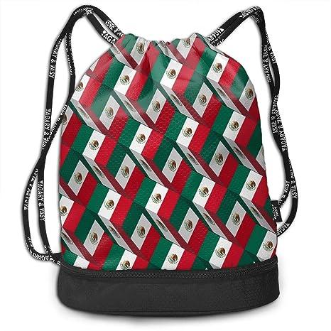 Drawstring Backpack Mexican Flag Shoulder Bags