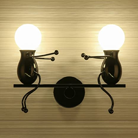 Southpo led wall light fixtures creative seesaw double little people southpo led wall light fixtures creative seesaw double little people wall lamps bedroom modern decor metal mozeypictures Image collections