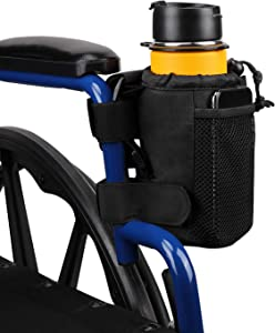 Wiicare Cup Holder, Wheelchair Cup Holder with Straps Mount and 2 Mesh Pockets, 7 Inch Walker Drink Cup Holder Universal Water Bottle Holder for Rollator, Scooter, Bike