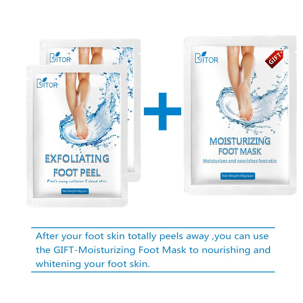 Foot Peel Mask(2 pair) with a Gift(1 pair of Moisturizing Foot Mask), Exfoliating Dead Skin Remover by BRITOR by BRITOR (Image #5)