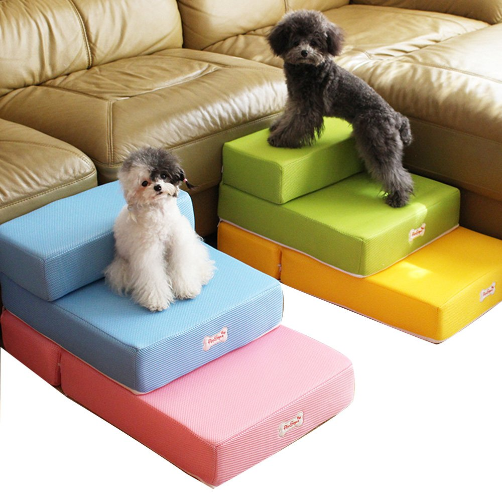 Foldable Pet Dog Cat Stairs Steps For Small Dog Breathable Mesh Dog Mat Cushion Bed Steps Ramp With Detachable Cover Pet Product (2 layers step, Blue)