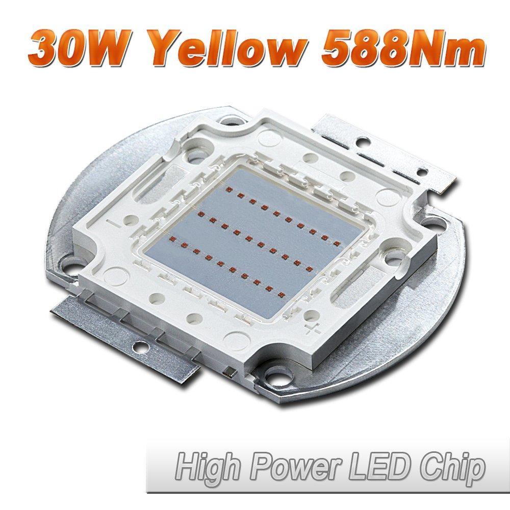10 Pcs Hontiey High Power LED Chip 1W Yellow Light 588Nm-591Nm Bulbs 1 watt Beads DIY Spotlights Floodlight COB Integration Lamp SMD Fountain Lights