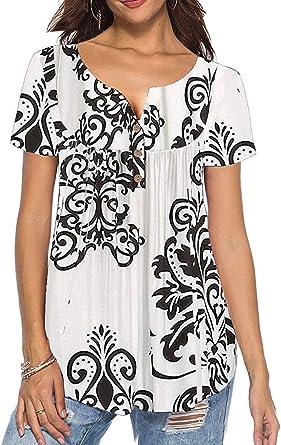 UMIPUBO Bluas de Mujer Camisa Algodón Blusa Mujer Elegante Manga Corta Camisa Suelta Mujer Casual Verano T Shirts Tops: Amazon.es: Ropa y accesorios