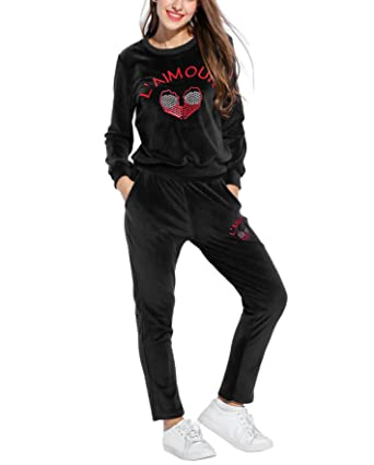 Amazon.com  Women Velour Tracksuit a25c1ac129cb