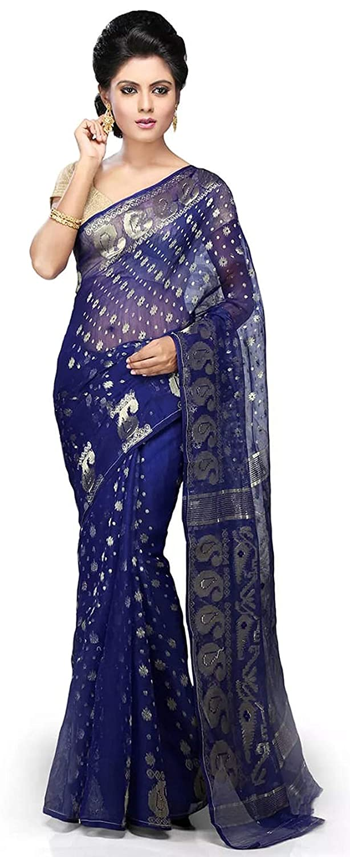 Blue Color Women's Jamdani Cotton Silk Saree