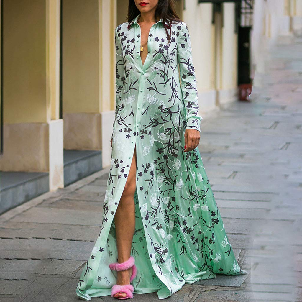 Usstore  Womens Shirt Dress Tall Personality Lapel Floral Printed Summer Fashion Long Sleeve Loose Cardigan Maxi Dresses