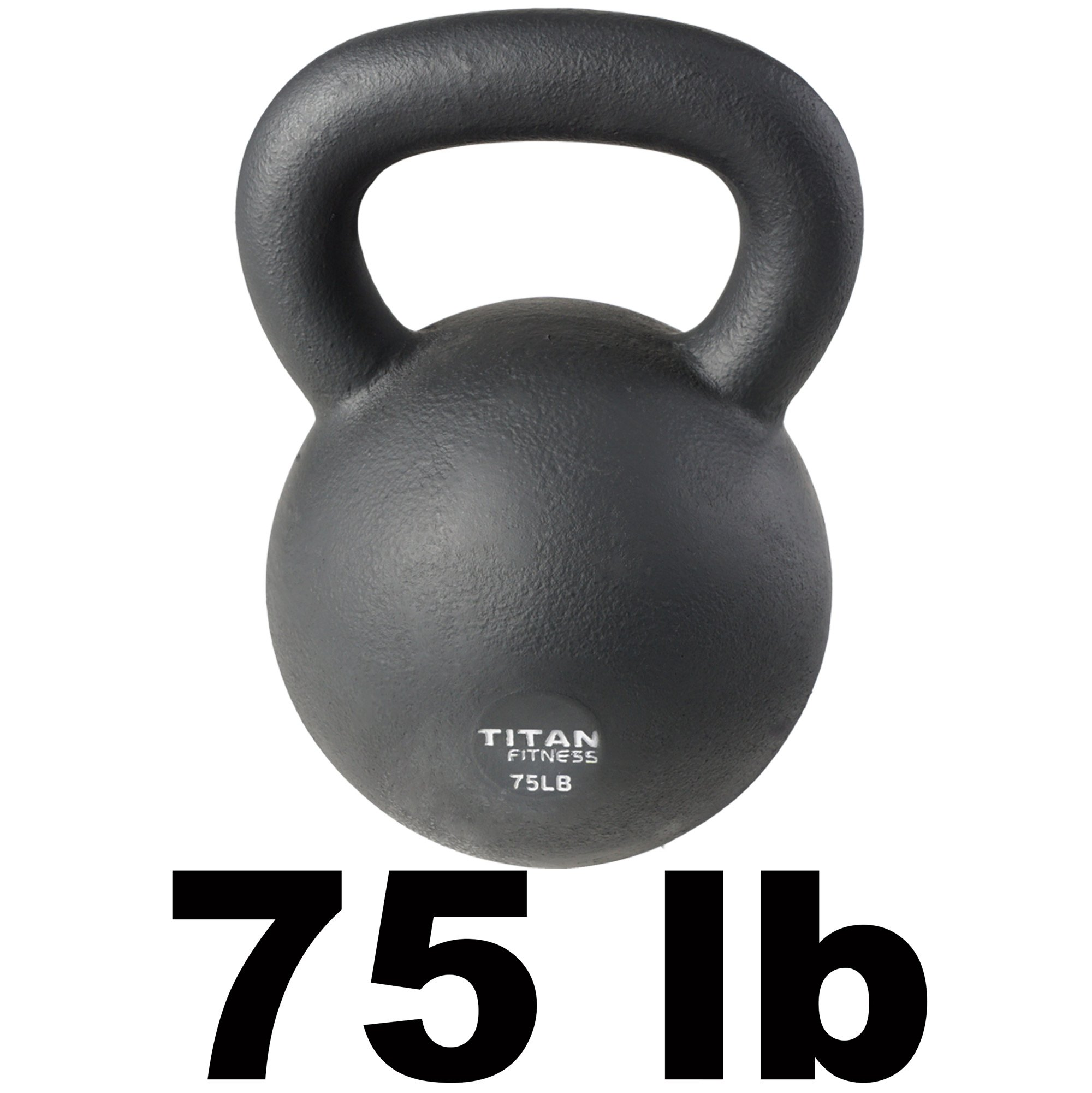 Cast Iron Kettlebell Weight 75 lb Natural Solid Titan Fitness Workout Swing by Titan Fitness (Image #1)