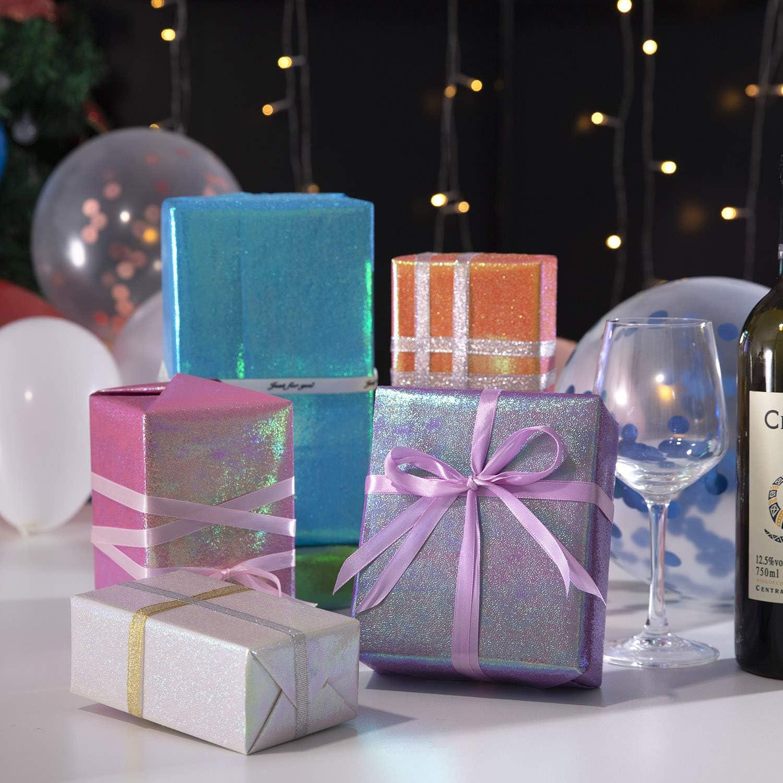 6 Fogli Colorata Carta Regalo 70X50cm Anniversari Carta da Regalo con Arcobaleno Colorata Carta da Pacchi per Compleanno con 2 Rotoli di Nastro Regalo Natale Jolintek Fogli di Carta da Regalo