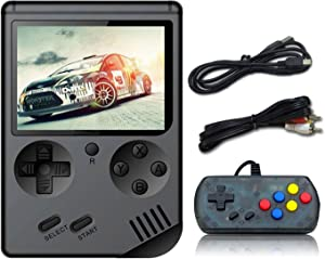 BAORUITENG Handheld Game Console , Retro FC Game Console 3 Inch Screen 500 Classic Games TV Output Game Player with 1PCS Joystick , Birthday Present for Children (Black)