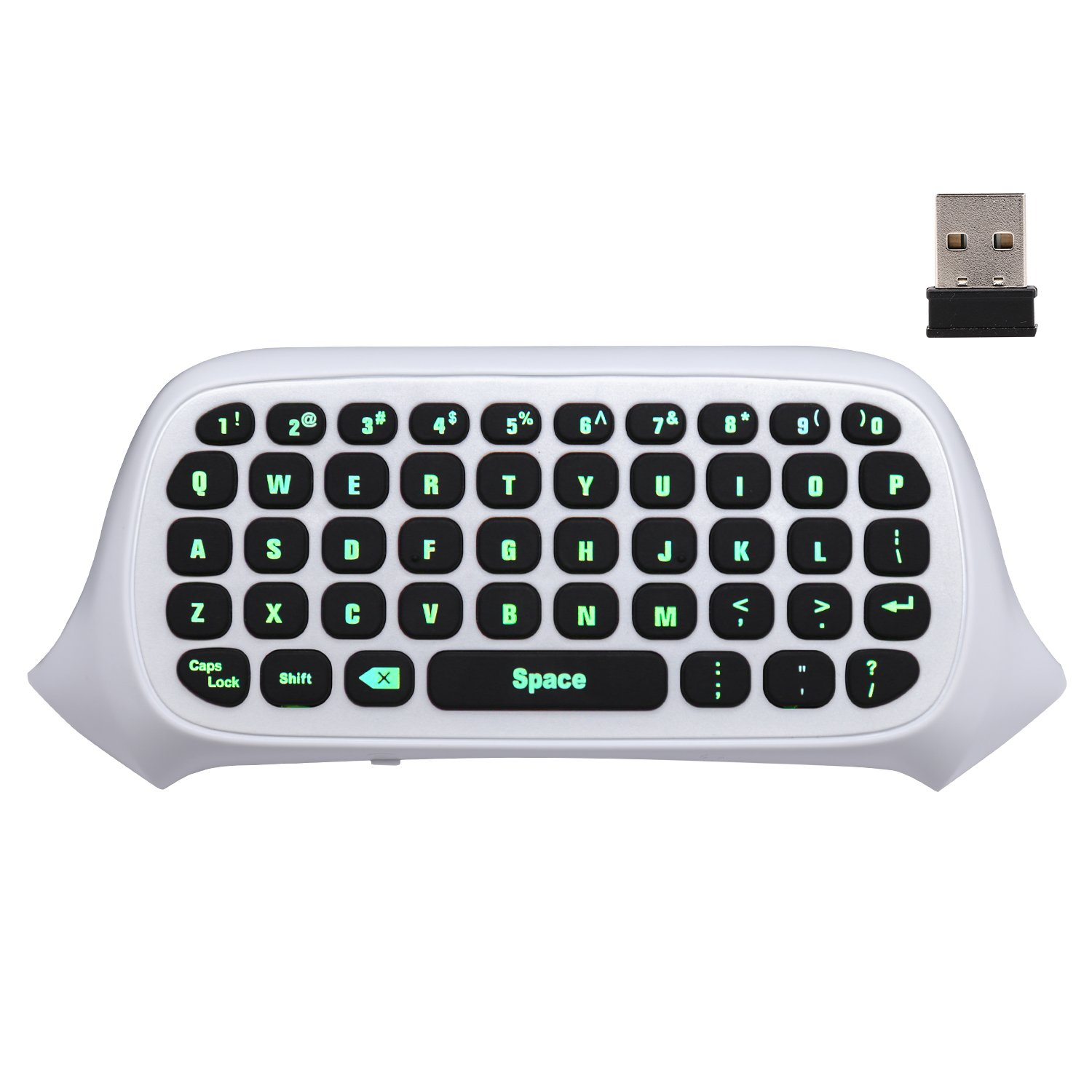 MoKo Xbox One Mini Green Backlight Keyboard, 2.4G Receiver Wireless Chatpad Message Game Keyboard Keypad, with Headset and Audio Jack, for Xbox One / Xbox One S / Xbox One Elite Controller, White