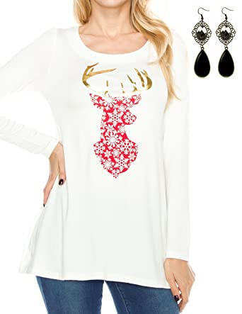 Sitengle Women 2017 New T Shirt Round Collar Cotton Long Sleeve Reindeer  Printing Blouse Tops