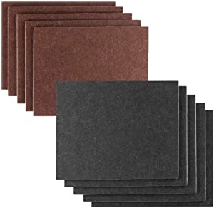 Felt Furniture Pad, FYSW - 7in X 5in X 1/5in,10pcs (5pcs Brown+5pcs Black), Upgraded Self Adhesive Pads, Cuttable Felt Chair Pads, Protecting Your Floor, Non-Slip, Anti-Scratch, Anti-Noise
