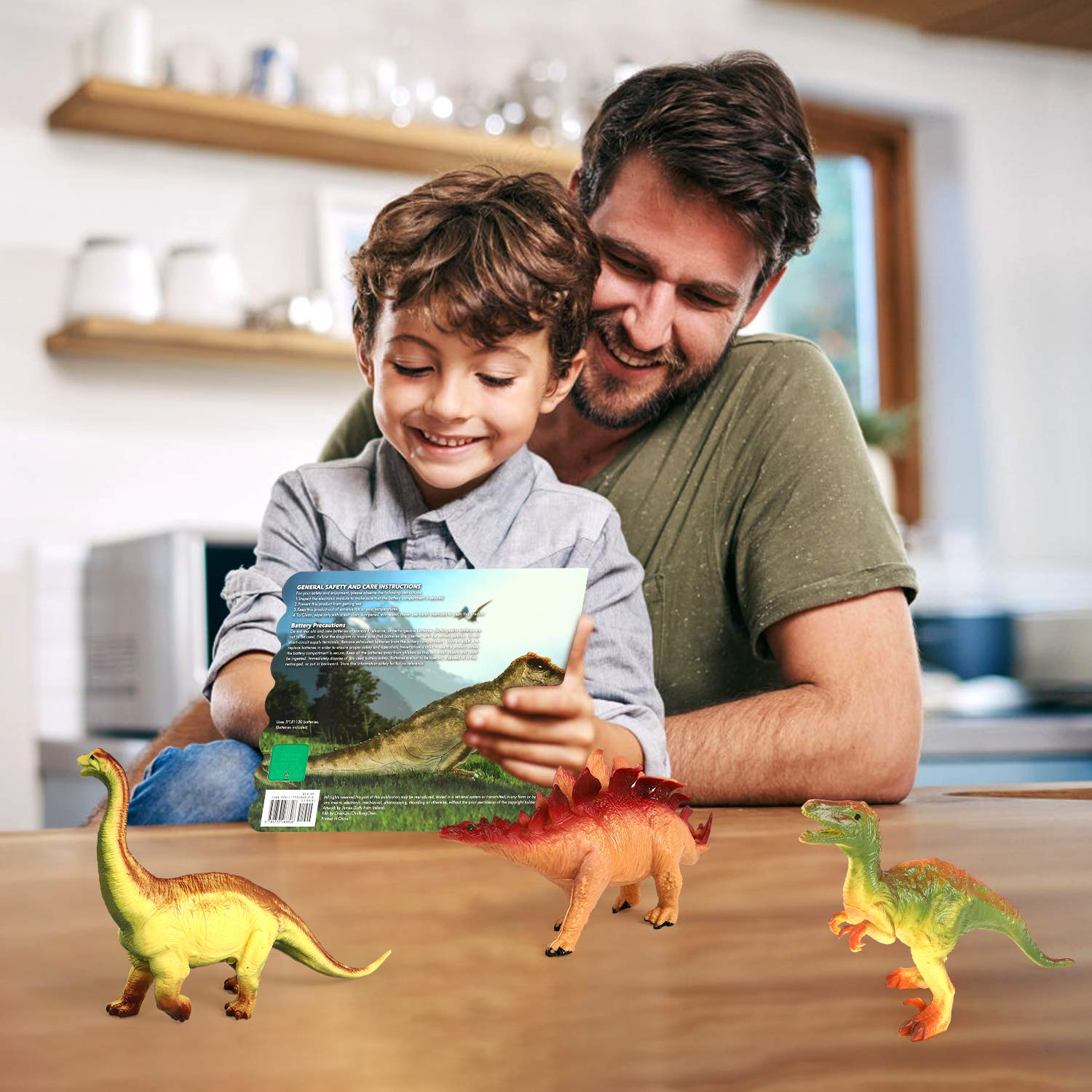 Olefun Dinosaur Toys for 3 Years Old & Up - Dinosaur Sound Book & 12 Realistic Looking Dinosaurs Figures Including T-Rex, Triceratops, Utahraptor, Perfect Gifts for Kids, Boys and Girls