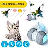 Ventvinal Bola de Gato, Juguete Gato Pelota interactiva giratoria automática de 360 Grados con luz LED de Carga USB,Pelotas Ejercicio para Animal Doméstico Gatos-Batería Recargable Incorporada
