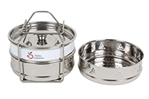 Chiboz Cookware 3 Qt Mini Stackable Steamer Insert Pans with Sling Handle compatible with Instant Pot 3 Quart