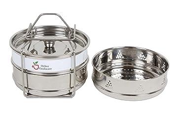 Chiboz Cookware - Juego de 3 mini ollas apilables de acero inoxidable con mango de deslizamiento, incluye 3 sartenes con 2 sartenes de cocción regulares y 1 ...