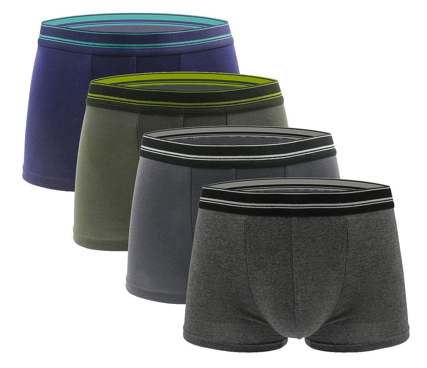 RESPEEDIME Cotton Boxer Brief Ultra Soft 4 Pack Comfort Underwear Underpants
