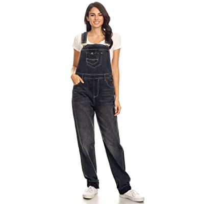 Anna-Kaci Womens Vintage Wash Straight Leg Denim Overalls with Pocket Bib: Clothing