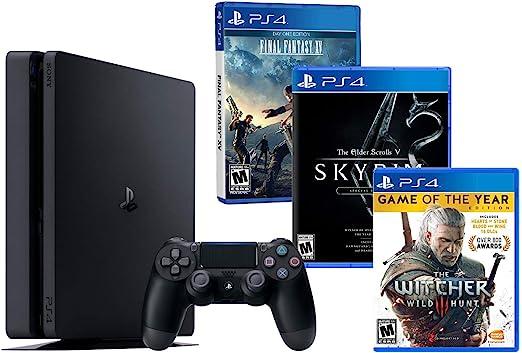 PS4 Slim 1Tb Negra Playstation 4 Pack RPG (3 Juegos) The Witcher 3 [GOTY] + Final Fantasy XV + The Elder Scrolls V: Skyrim Special Edition: Amazon.es: Videojuegos
