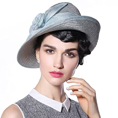 a824ab1a7ed June s Young Women Hat Sun Hat Straw Fabric Fashion Hat up Brim Wide Brim  (Silver