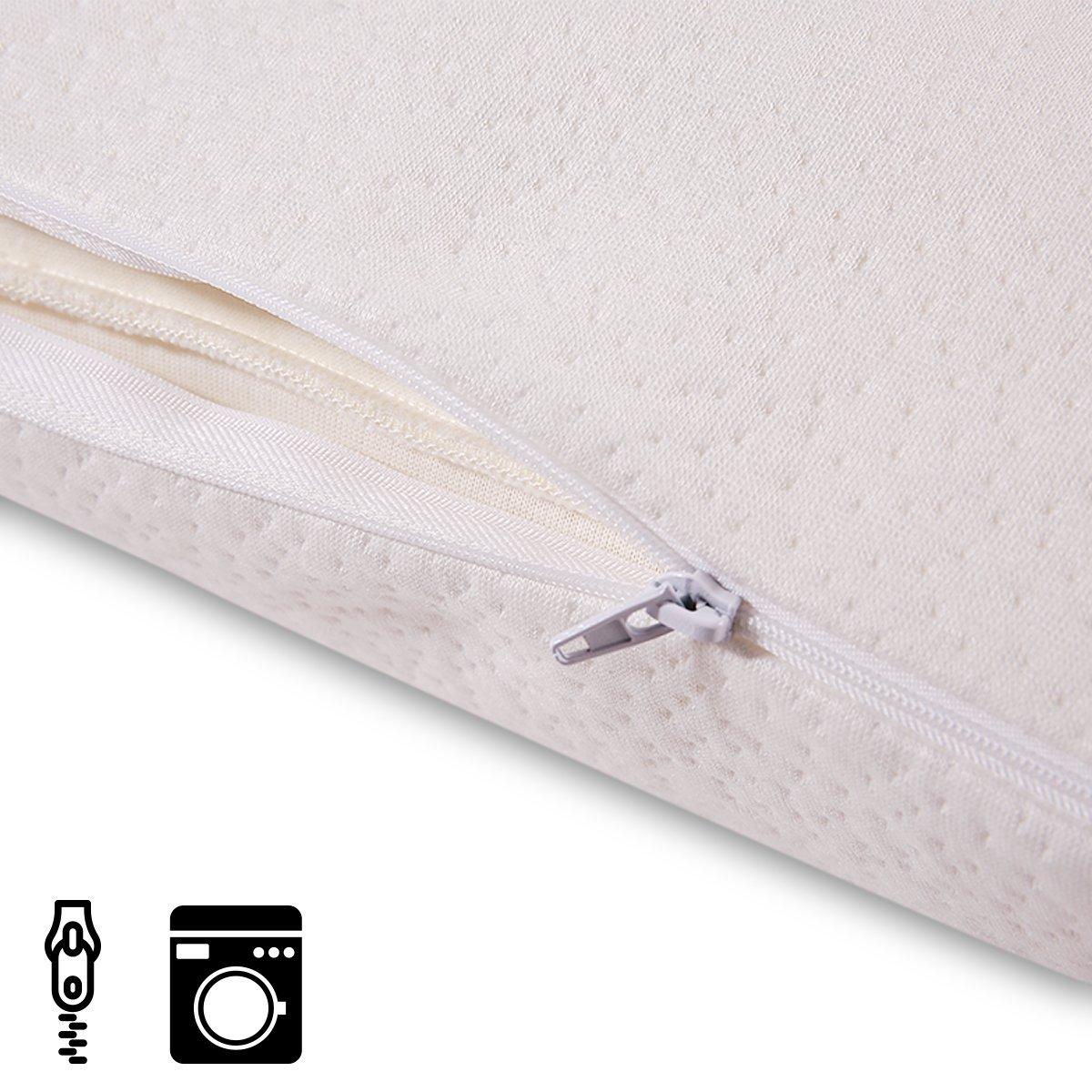 Cr Almohada de Espuma de Copos con Efecto Memoria, Medidas: 70 x 35 cm, Altura 12 cm, Suave, y Confortable, Funda de Bambú Extraíble y Lavable, ...