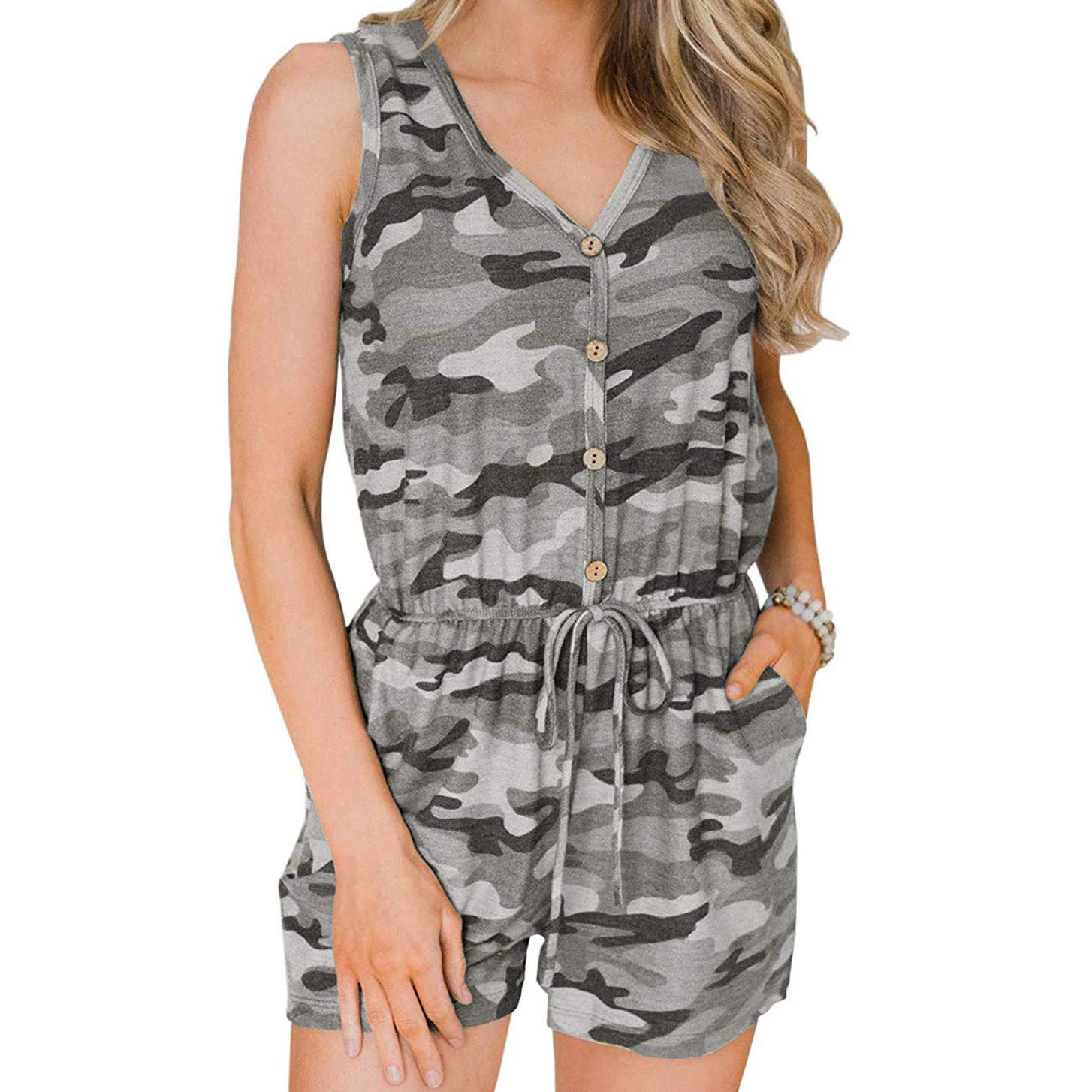 Womens Elegant Sleeveless Deep V-Neck Button Jumpsuits Rompers Belted Camouflage Print Wide Leg Shorts Lightweight Breathable Summer Lounge Beach Playsuit with Pockets