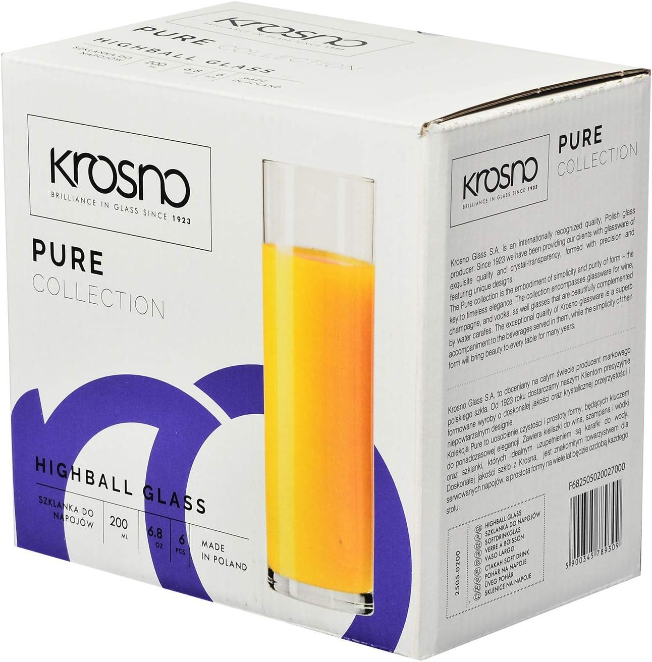 Conjunto 6 Piezas Krosno Vasos para Refrescos Zumo Agua Pure Collection Casa 200 ml Apta para Lavavajillas y Microondas Restaurante y en Las Fiestas