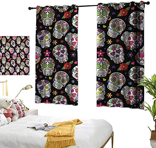 ParadiseDecor Children Blackout Curtain Sugar Skull Decor,Festive Graveyard Mexico Ritual Figures Mask Design on Black Backdrop,Multicolor W63 x L72 Grommet Curtains for Girls Room