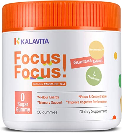 KalaVita Sugar Free Focus Gummy Stay on Task, Chewable Supplement for Concentration, Energy, and Memory Support, Lemon Iced Tea 0 Sugar Vegan Gummy, Guarana Extract Neumentix™ L-Theanine B12, 50 Count