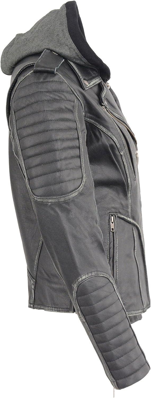 Milwaukee Leather MLL2516 Womens Black Leather Rub off Jacket with Hoodie Jacket X-Large