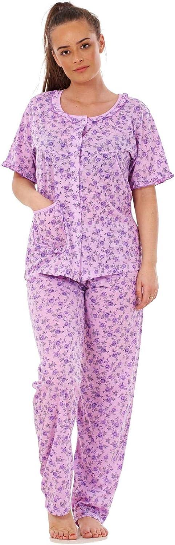 Ladies Pyjama Set Cotton Blend Floral Print Short Sleeve Button Pocket Nightwear