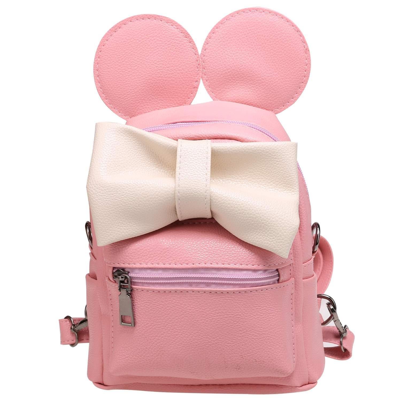 Telden Girl 's Miniファッションバックパックかわいい蝶結びレザー旅行用デイパック通学バッグ B0798MV5F9 ピンク