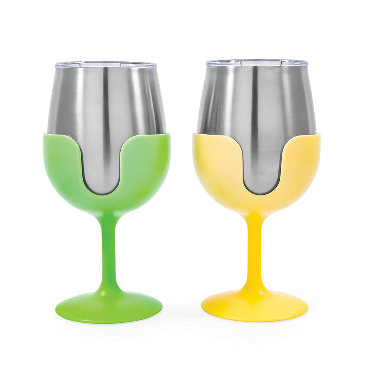 Camco 51916 Yellow and Green Stainless Steel Tumbler Set with Removable Bright Yellow and Lime Green Wine Glass Stems-Leak Proof Lid, 8 oz