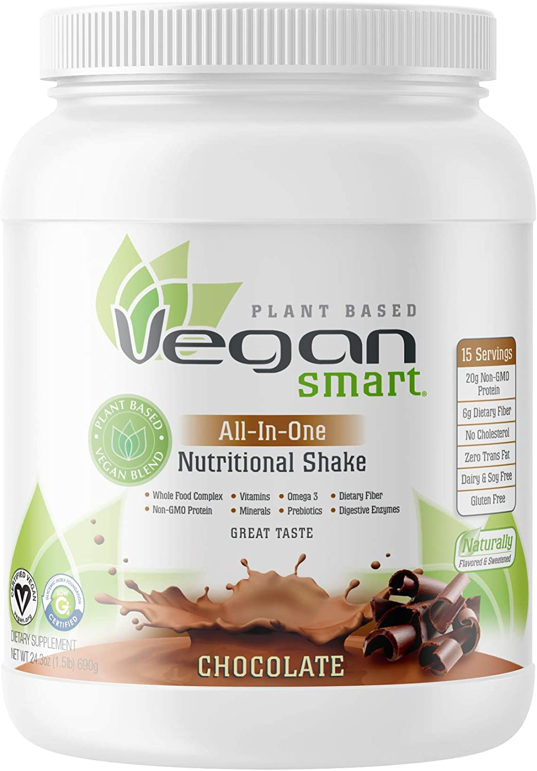 Vegansmart Plant Based Vegan Protein Powder by Naturade, All-In-One Nutritional Shake - Chocolate (15 Servings): Health & Personal Care