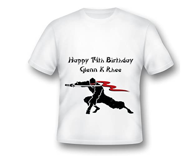 7af32f301bfec Amazon.com: Custom Black Ninja with Sword Birthday Shirt, Karate ...