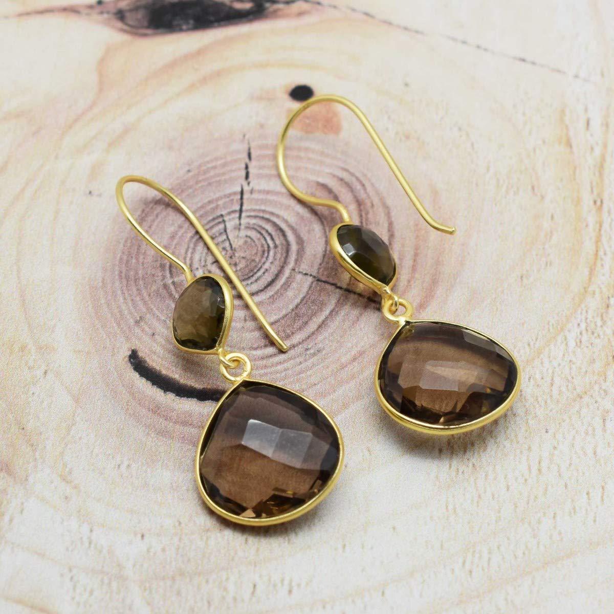 The V Collection Earrings Dangling Smokey Drop Earrings 22k Gold Plated Fashion Jewelry Earrings for Women and Girls