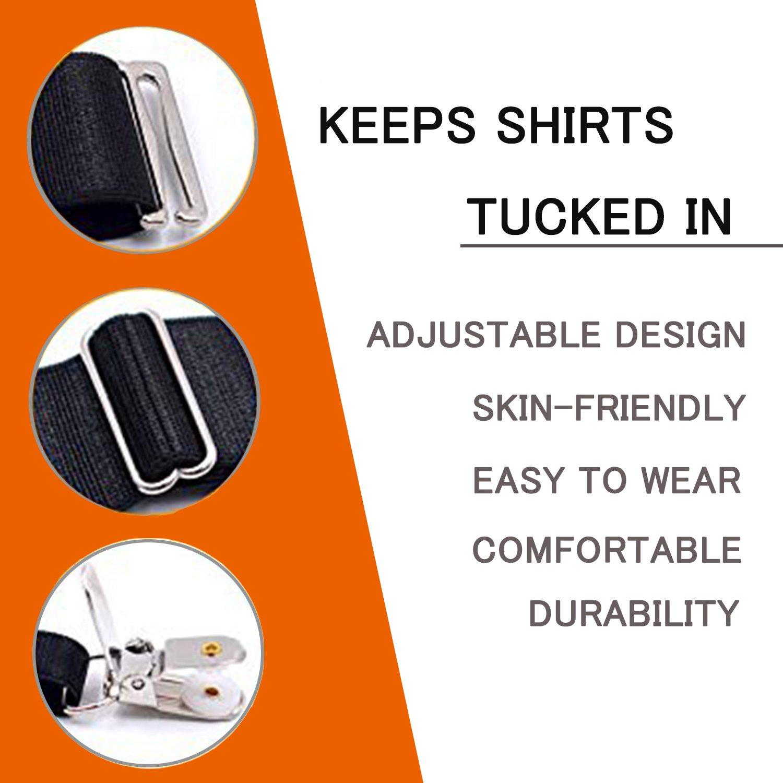 Shirt Stays for Men Adjustable Shirttail Garters Suspender Belts for Police Military