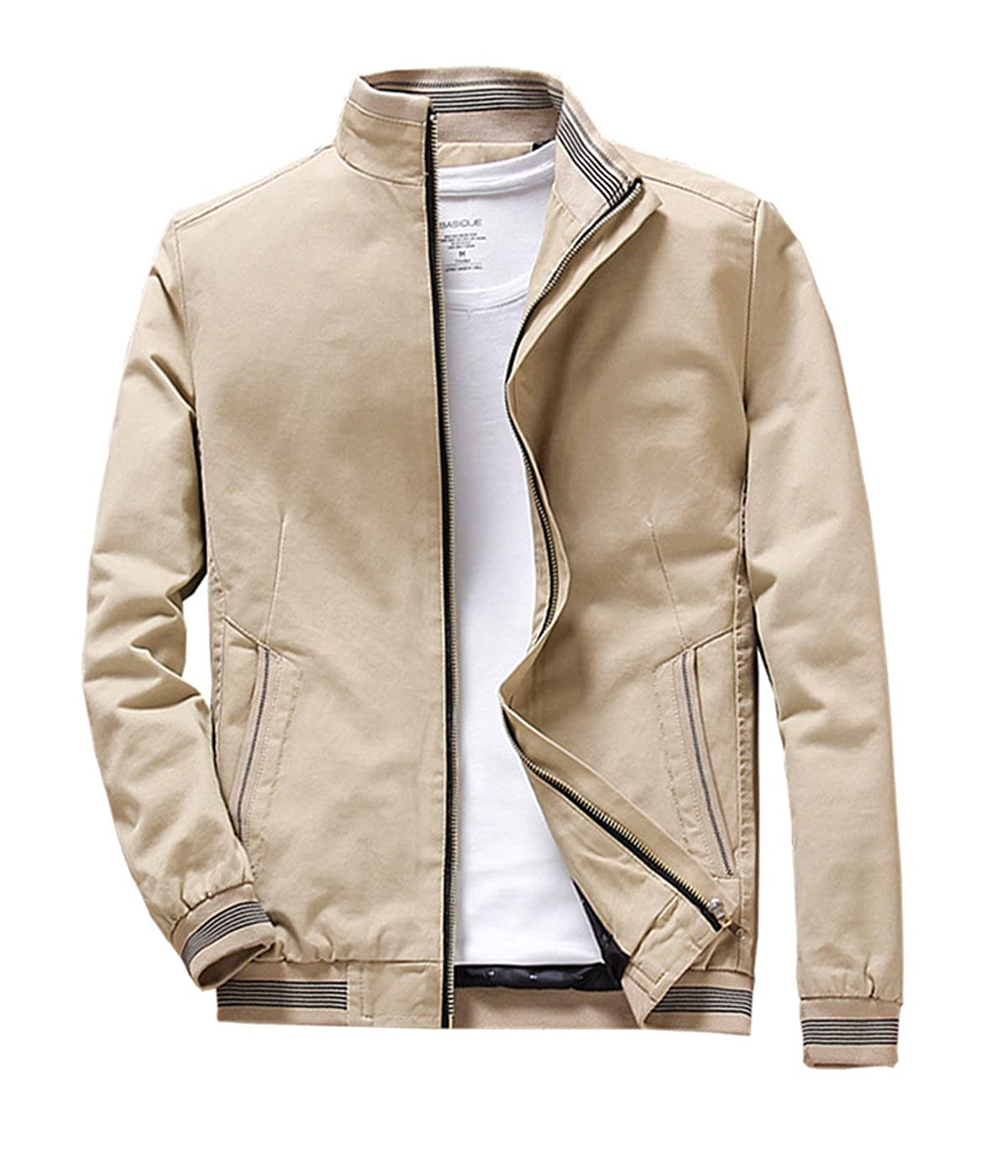 Nothar Mens Stand Collar Cotton Coat Outerwear, Front Zip Jacket