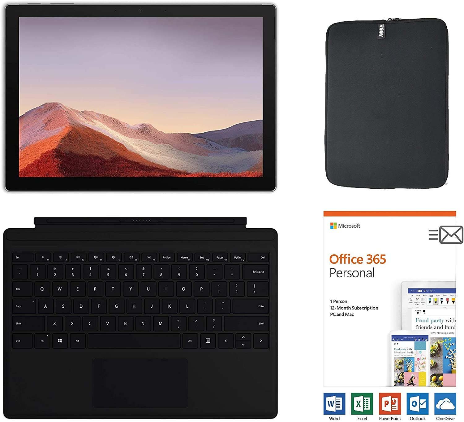 Microsoft Surface Pro 7 12.3 Inch Touchscreen Tablet PC Bundle w/Type Cover + Office 365 (1 Year) & WOOV Sleeve, Intel 10th Gen Core i3, 4GB RAM, 128GB SSD, USB-C, Windows 10, Platinum (Latest Model)