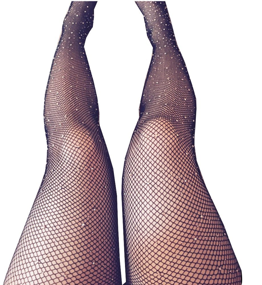 Women Pantyhose Tights Glitter Rhinestone Sexy Slim Tights Hosiery (Black)