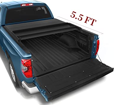 Amazon Com Yitamotor Soft Tri Fold Truck Bed Tonneau Cover Compatible With 2014 2021 Toyota Tundra With Track Bed Rail System Fleetside 5 5 Ft Pickup Cargo Bed Waterproof Automotive