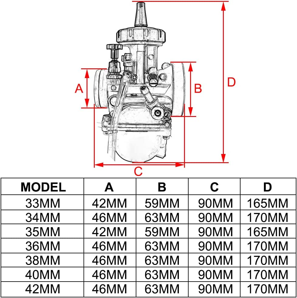 JFG RACING Nero Carburatore PWK 21 mm per Honda Yamaha Suzuki Kawasaki K.T.M 50 CC 65 CC 75 CC 80 CC 100 CC ATV Dirt Bike