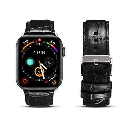 Da Ge Lon Compatible With Apple Watch Band 42mm 44mm Series 4 Series 3 Series 2 Series 1, Crocodile Pattern Leather Wristband Replacement Strap Durable Watchband For I Watch Sport Edition Nike+, Black by Da Ge Lon