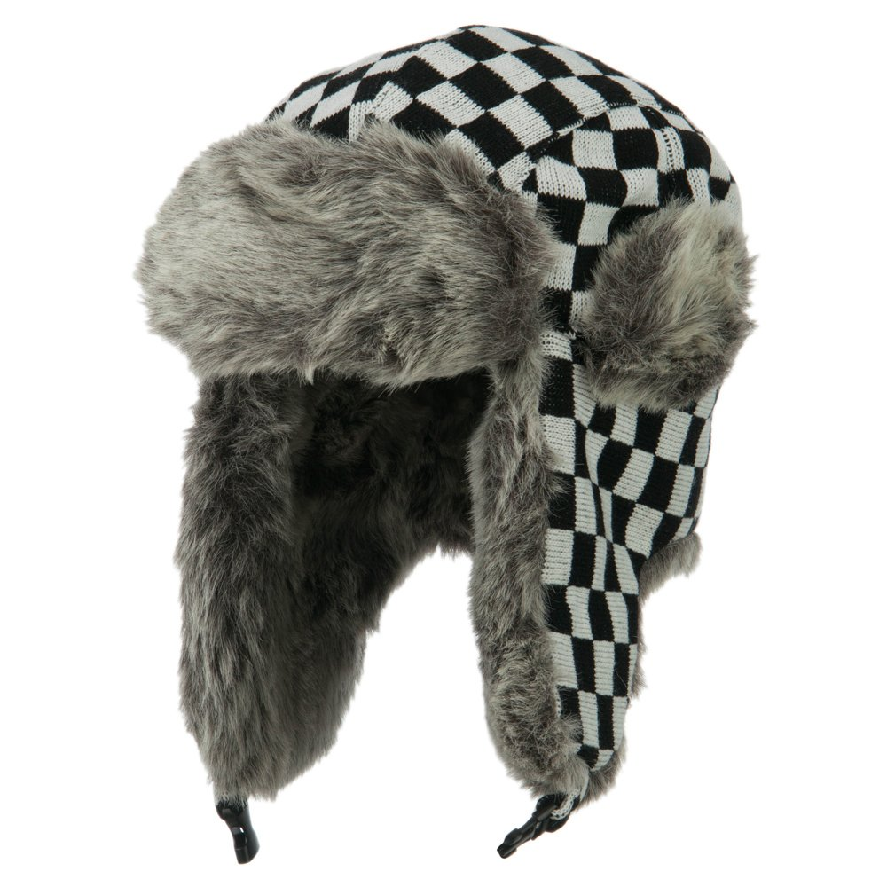 Jacquard Checkered Trooper Hat - Black