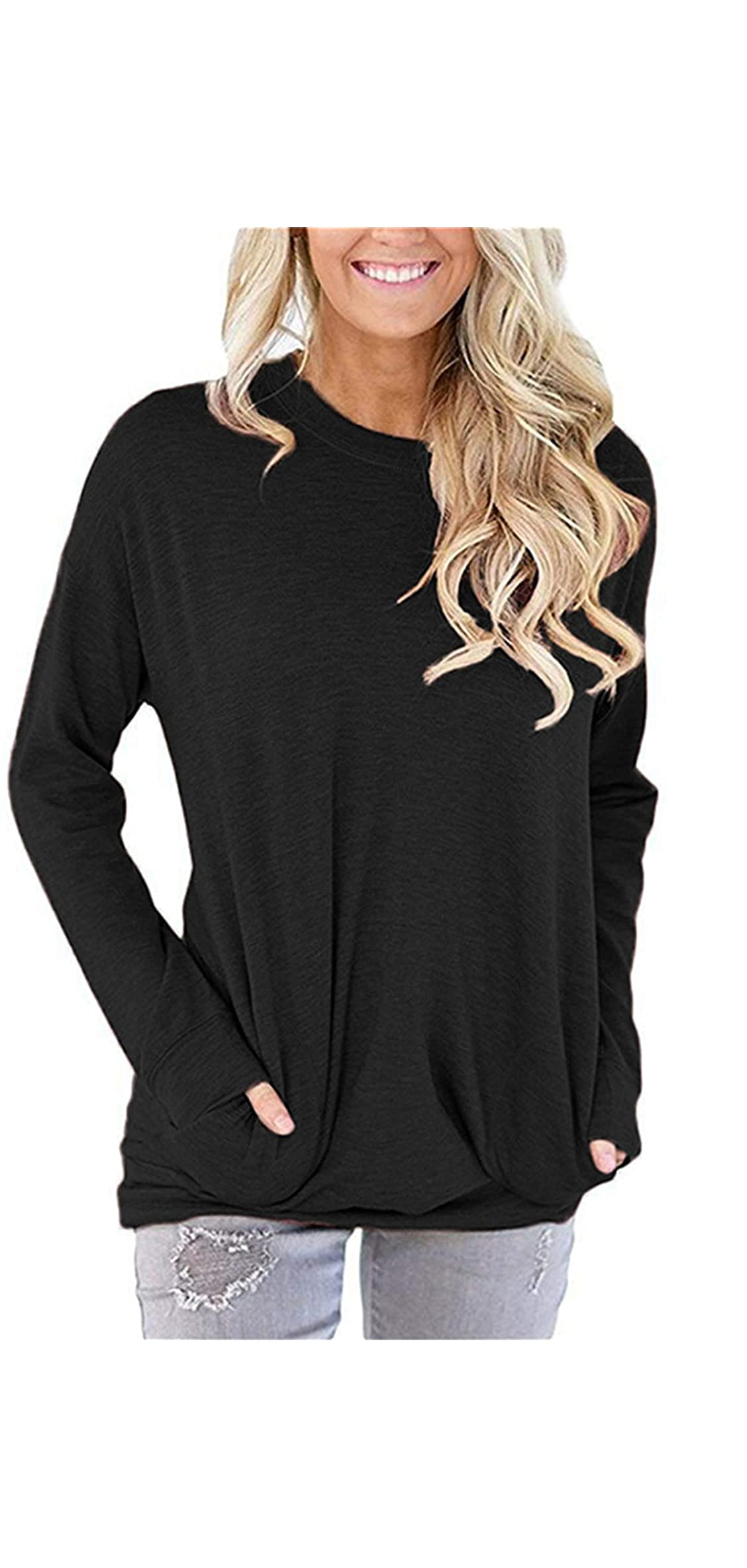 Pocket Shirts For Women Casual Loose Fit Tunic Top