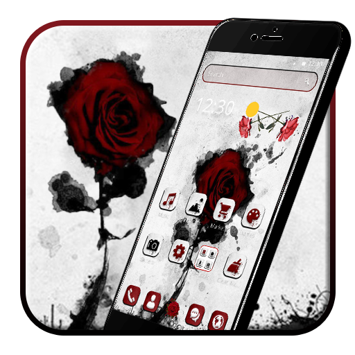 Ink Red Rose 2D Theme ()