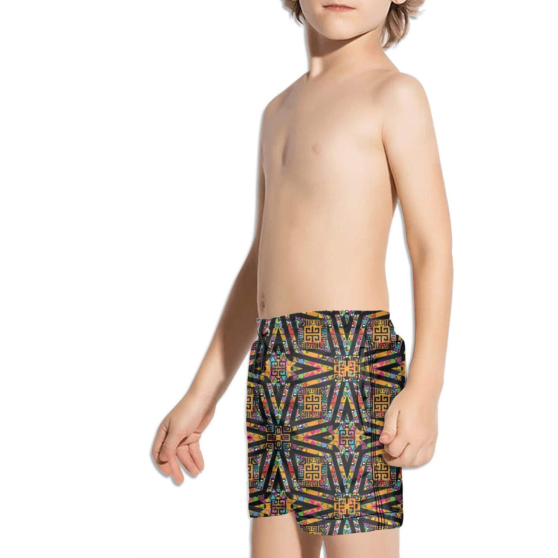 Trtibal Greek Ethnic Geometric Art Fashion Swim Trunks BingGuiC Boys Quick Dry Shorts